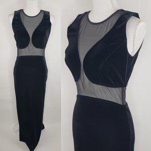 Vtg 90s Velvet Mesh Cutout Long Formal Tower Dress